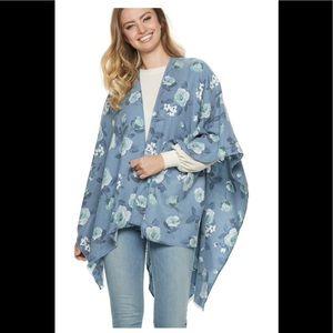 Women's LC Lauren Conrad Rose Garden Ruana blue